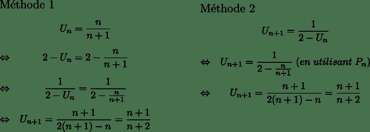 Exemple d'hérédité dans un raisonnement par récurrence
