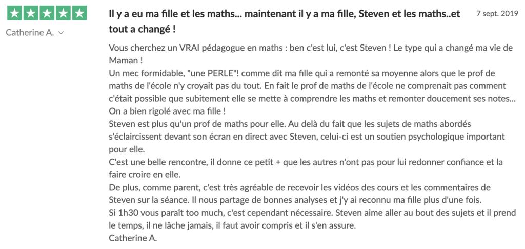 Avis de Catherine sur les Cours Particuliers - Steven les Maths en Tongs