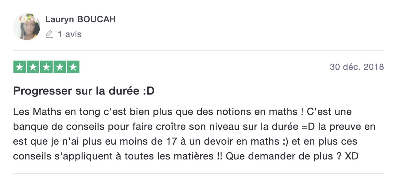 avis de Lauryn sur les Maths en Tongs