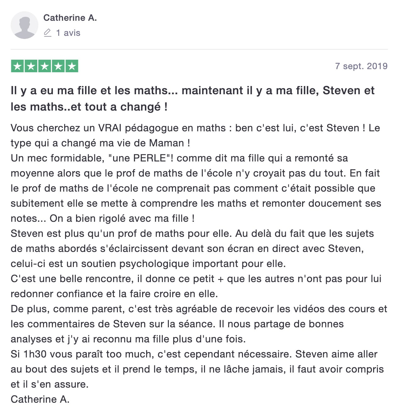 avis de Catherine sur les Maths en Tongs